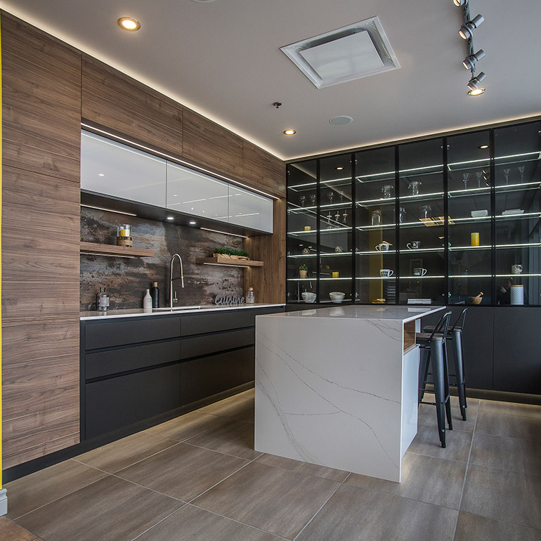 Materials should be selected to meet the requirements for the kitchen, and the choice will depend on the style and design of the room and on the client's tastes and budget.