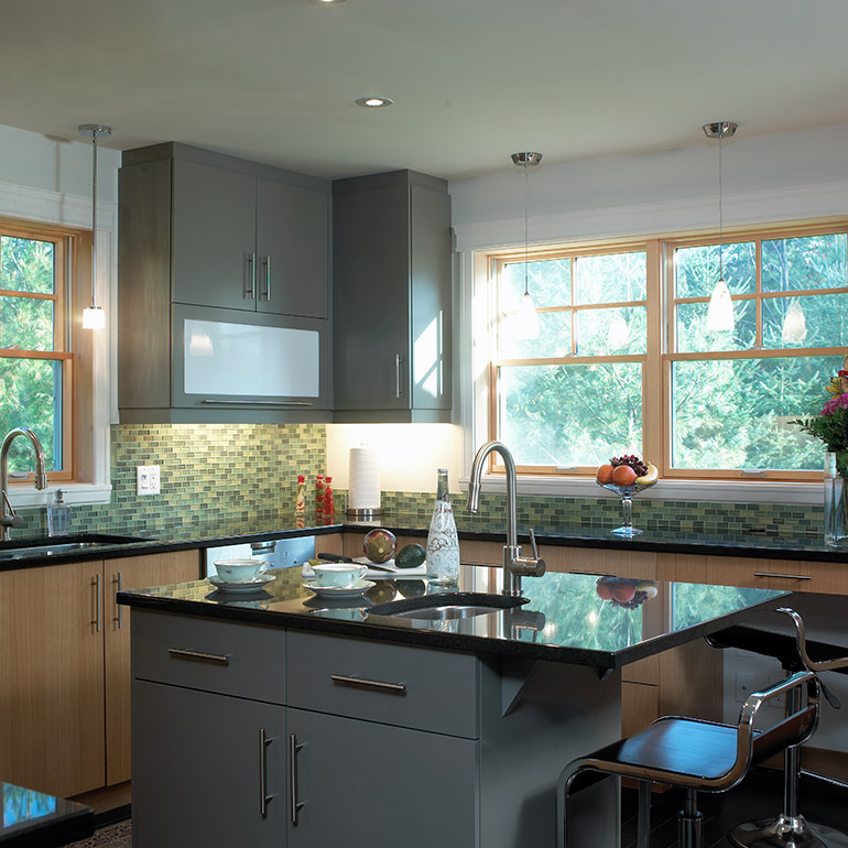 Urban Style Bright Kitchen And Centre Island With Granite Countertop