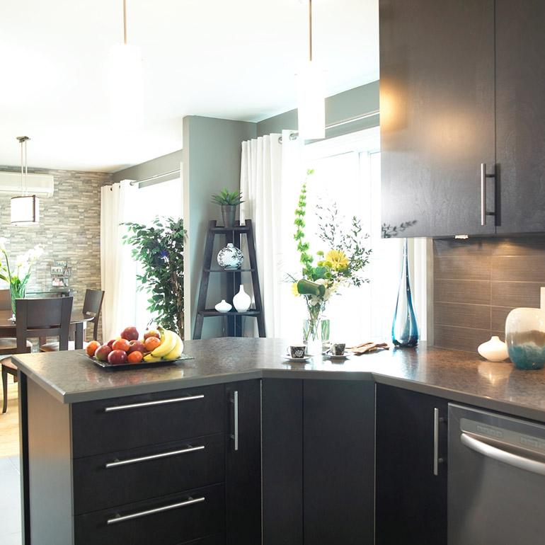 cuisines beauregard cuisine r alisation 188 cuisine urbaine en placage de bois et comptoir. Black Bedroom Furniture Sets. Home Design Ideas