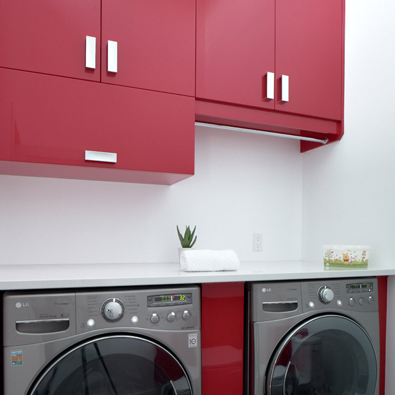 Laundry room in brightly coloured thermoplastic