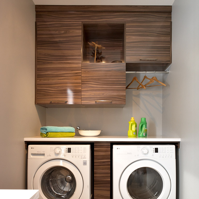 Cuisines Beauregard | Contemporary Laundry Room With Glossy Melamine  Cabinets. Cuisines Beauregard | Custom Made ...
