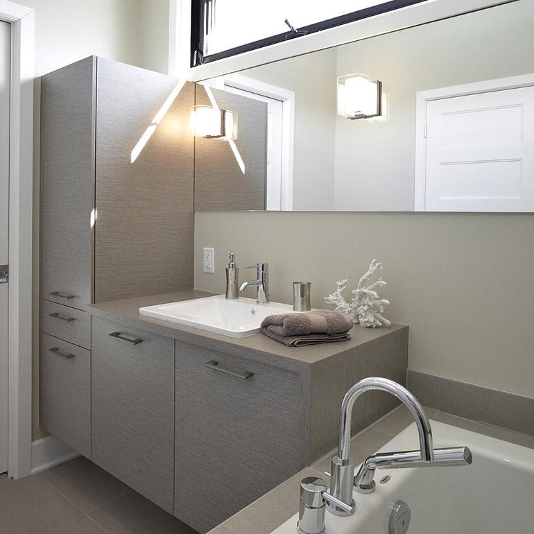 Fabricant de salles de bain cuisines beauregard - Salle de bain contemporaine grise ...