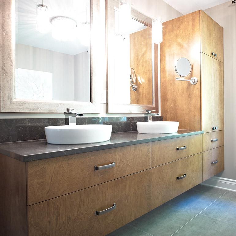 cuisines beauregard salle de bain des matres style contemporain en bois plaqu