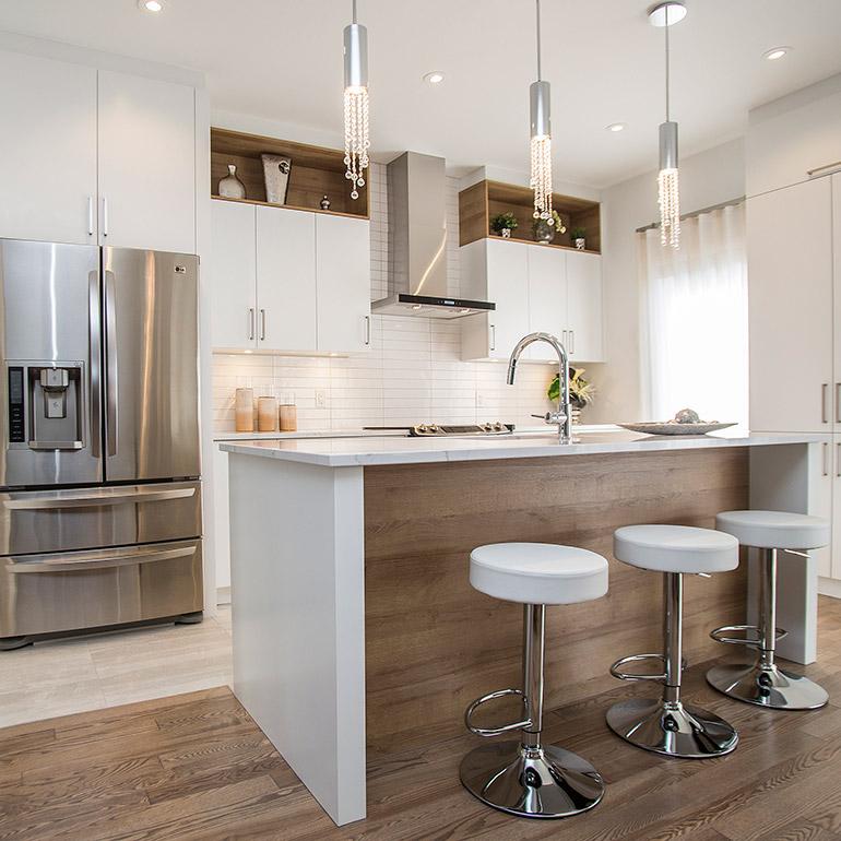 cuisines beauregard cuisine contemporaine blanche avec grand lot