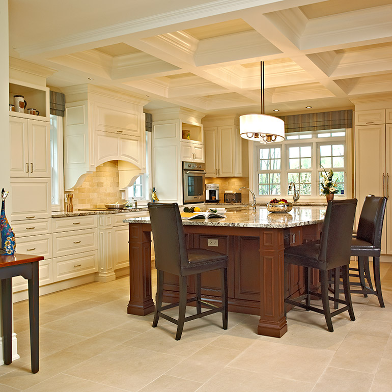 Perfect Classic Wood Kitchen Cabinets And Stylish Dark Toned Island With  Contrasting Cabinet In A Lighter