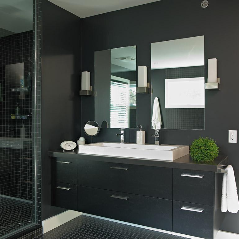 cuisines beauregard salle de bain r alisation 235 salle de bain contemporaine avec armoires. Black Bedroom Furniture Sets. Home Design Ideas